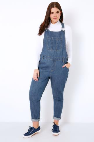 Boyfriend & Slouch Jeans Mid Blue Denim Dungarees With Front Pocket 103346