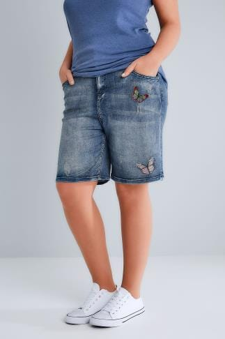 Denim Shorts Indigo Blue Distressed Denim Shorts With Butterfly Embroidery 144039