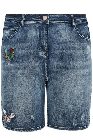 Indigo Blue Distressed Denim Shorts With Butterfly Embroidery