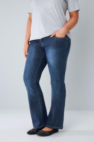 Bootcut & Flares Indigo Bootcut SHAPER Jeans With Two Button Fastening 044468