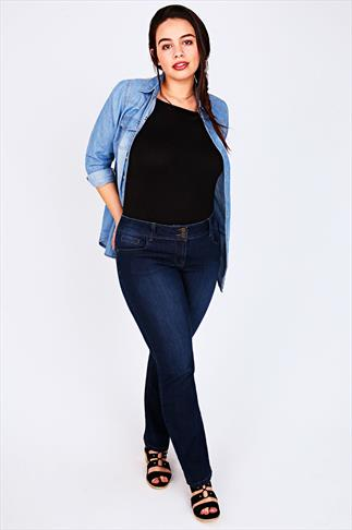 Indigo Bootcut SHAPER Jeans With Two Button Fastening 044468