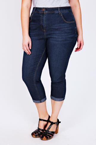 Indigo Denim 5 Pocket Stretch Crops