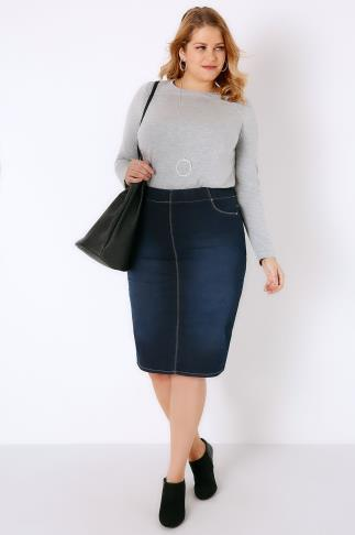 Indigo Denim Pull On Midi Pencil Skirt 049437