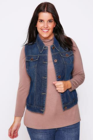 Indigo Denim Western Sleeveless Gilet