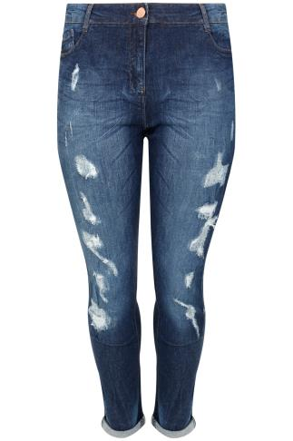 Indigo Distressed Ripped Boyfriend Jeans