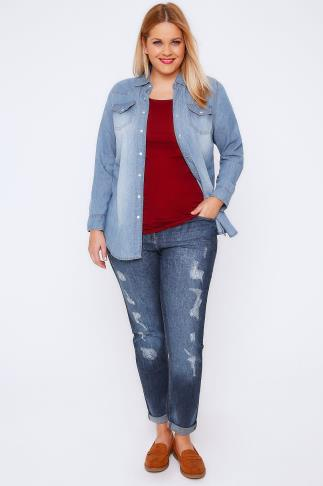 Indigo Distressed Ripped Boyfriend Jeans 101586