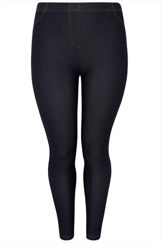 Indigo Jersey Jeggings With Gold Stitch Detailing