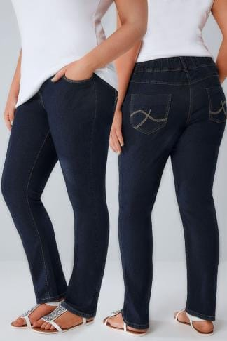 Coupe droite Indigo Pull On Straight Leg Jeans 053130