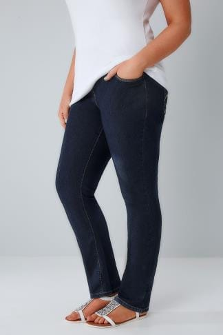 Straight Leg Indigo Pull On Straight Leg Jeans 053130