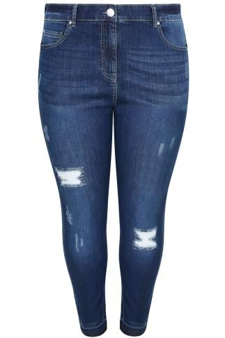 Indigo Rip & Repair Skinny Jeans With Raw Cuffs