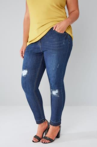 Skinny Jeans Indigo Rip & Repair Skinny Jeans With Raw Cuffs 142020