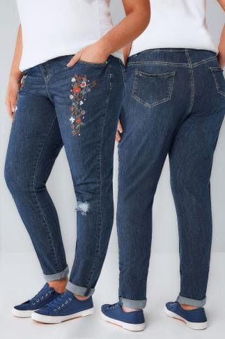 Boyfriend & Slouch Jeans Indigo Slouch Denim Jeans With Floral Embroidery 142008