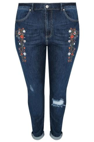 Indigo Slouch Denim Jeans With Floral Embroidery