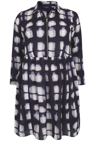 Indigo & White Printed Dress With Ruched Waist & Zip Front