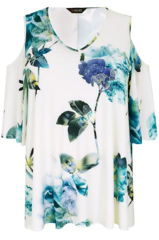 Ivory & Blue Watercolour Floral Cold Shoulder Floral Swing Top