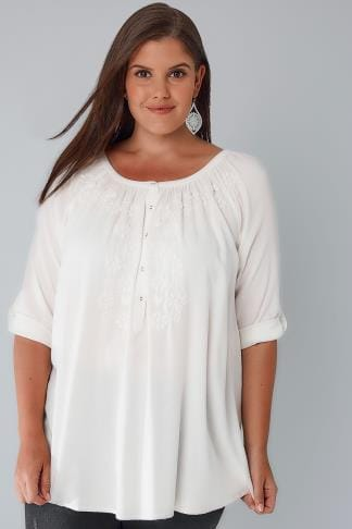 Blouses & Shirts Ivory Button Up Gypsy Blouse With Embroidery Detail 130101