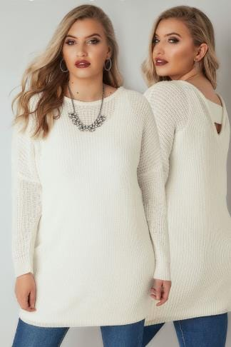 Jumpers Ivory Chunky Knit Jumper With V-Back Cut Out 124195
