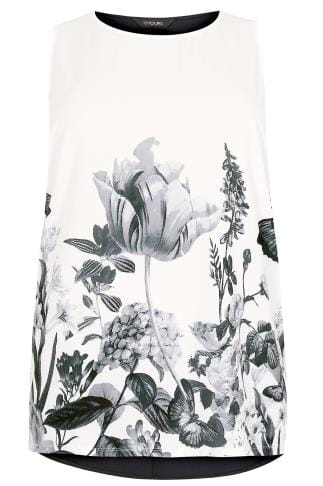 Ivory Floral Sleeveless Top With Studs