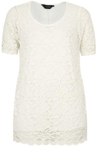 Ivory Lace Front Top With Scalloped Hem