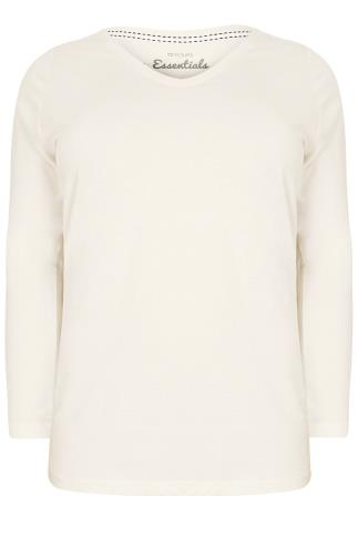 Ivory Long Sleeved V-Neck Basic T-Shirt
