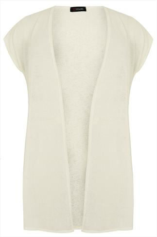 Ivory  Longline Knitted Shrug With Extended Shoulders