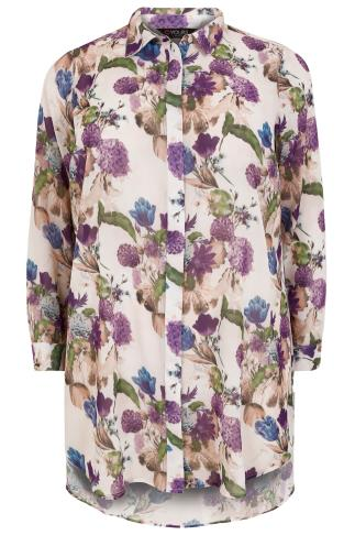 Ivory & Multi Floral Print Chiffon Shirt With Step Hem
