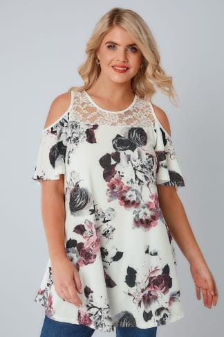 Bardot & Cold Shoulder Tops Ivory & Multi Floral Print Cold Shoulder Longline Jersey Top With Lace Panel 134201