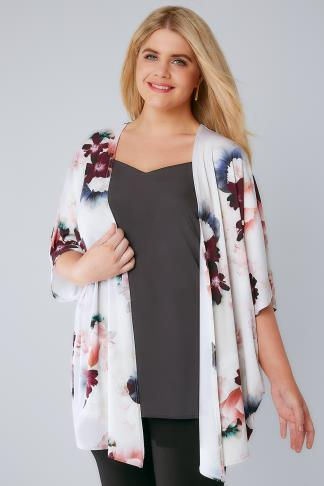 Ivory & Multi Floral Print Kimono With Short Sleeves 134118