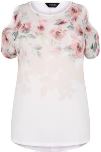 Ivory & Multi Soft Floral Print Cold Shoulder Top With Dip Hem