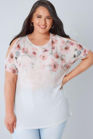Bardot & Cold Shoulder Tops Ivory & Multi Soft Floral Print Cold Shoulder Top With Dip Hem 134130