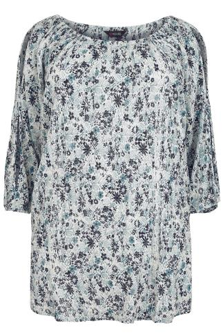 Ivory, Navy & Blue Cold Shoulder Crinkle Gypsy Top
