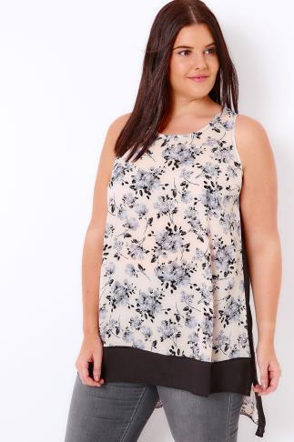 Ivory, Navy & Blue Floral Printed Sleeveless Top With Dipped Hem