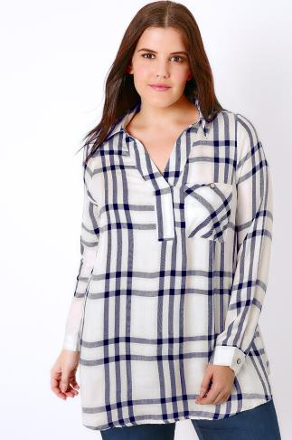 Ivory & Navy Oversized Checked Shirt With V-Neck