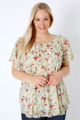 Ivory & Red Ditsy Floral Chiffon Top With Angel Sleeves 170097