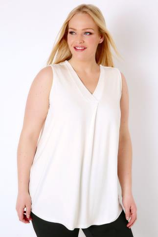 Ivory Sleeveless V-Neck Jersey Top 134049
