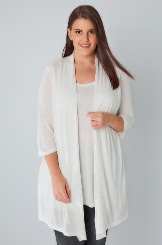 Jersey Tops YOURS LONDON Ivory Sparkly 2 In 1 Top & Cardigan 156180