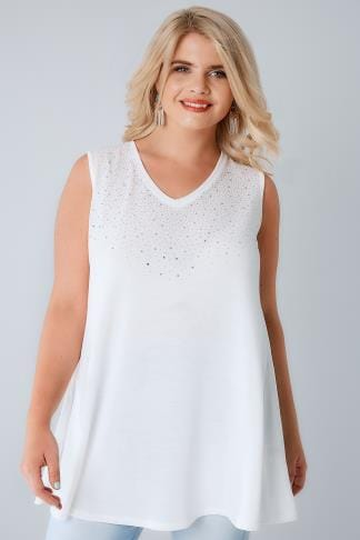 Oberteile Ivory Stud Embellished Fine Knit Sleeveless Swing Top 132359