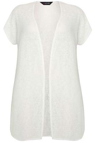 Ivory Textured Cardigan With Grown-On Short Sleeves