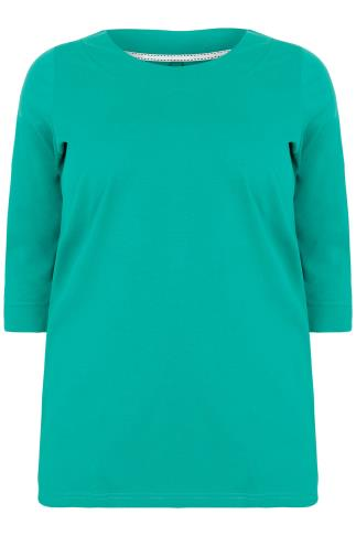 Jade Green Band Scoop Neckline T-Shirt With 3/4 Sleeves