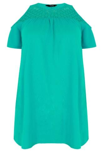 Jade Green Cold Shoulder Jersey Top With Lace Yoke