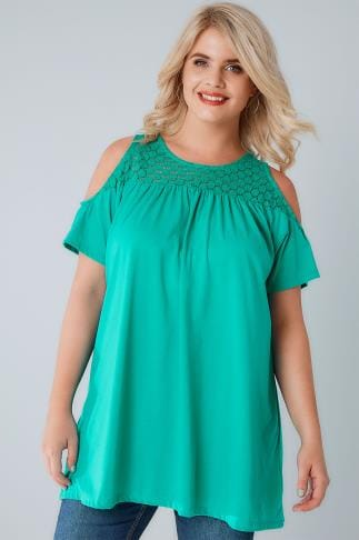 Bardot & Cold Shoulder Tops Jade Green Cold Shoulder Jersey Top With Lace Yoke 132054