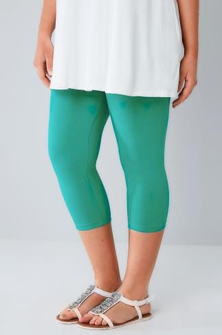 Cropped & Short Leggings Jade Green Cotton Elastane Cropped Leggings 142029