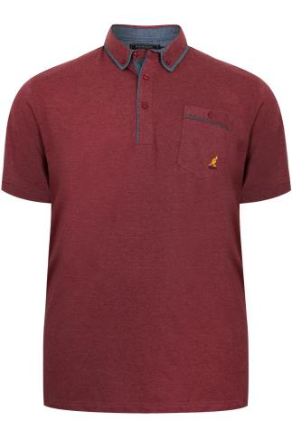 KANGOL Burgundy Short Sleeved Polo Top