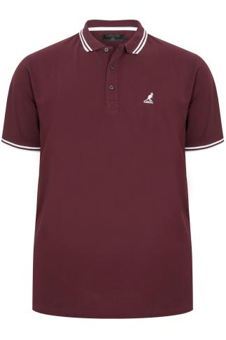 KANGOL Burgundy & White Short Sleeved Polo Shirt