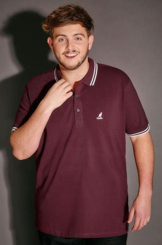 Polo Shirts KANGOL Burgundy & White Short Sleeved Polo Shirt 110296