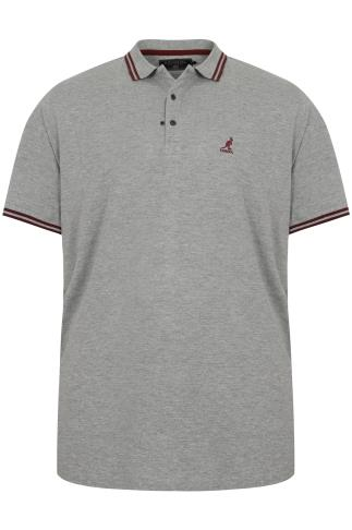 KANGOL Grey & Burgundy Short Sleeved Polo Shirt