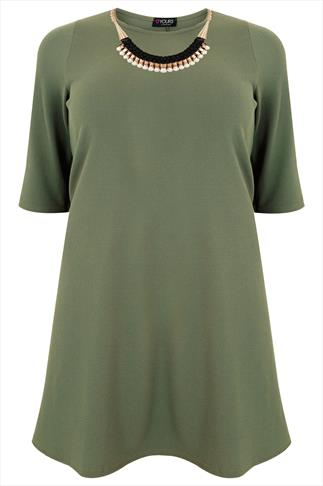 Khaki 3/4 Sleeve Textured Swing Dress With Statement Necklace