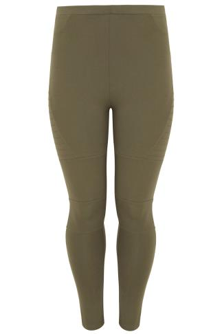 Khaki Biker Pintuck Stitch Detail Cotton Elastane Leggings