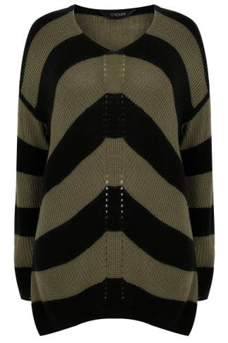 Khaki & Black Chevron Striped Longline Jumper With Curved Hem