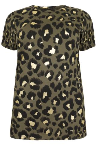 Khaki & Black & Gold Leopard Print Top With Side Slits